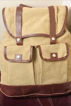 Gift --- Yellow Canvas Backpack, Student Canvas Backpack, Leisure Packsack