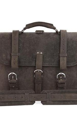 High Quality Messenger Bag / Men's Leather Traveling Bag /Gray Leather Luggage / Large-size Leather Bag