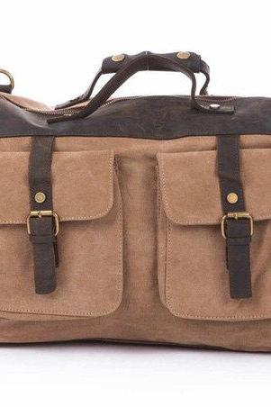 Khaki Canvas & Balck Leather Messenger Bag, Canvas Messenger/ Handbag, Canvas Bag with the Strap