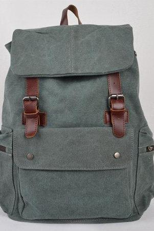 Lake Green Canvas Bag, Leather-Canvas Backpacks , Canvas Backpacks, Student Canvas Backpack, Leisure Canvas backpack