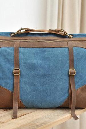 Thanksgiving Gift - Blue Canvas Bag Leather Canvas Messenger bag Canvas Cross-body bag Hangbag