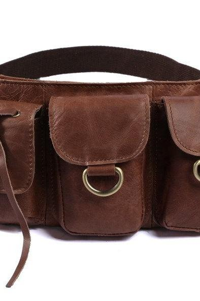 Brown Leather Waist Bag, Fashion Unisex Pack, Portable bag
