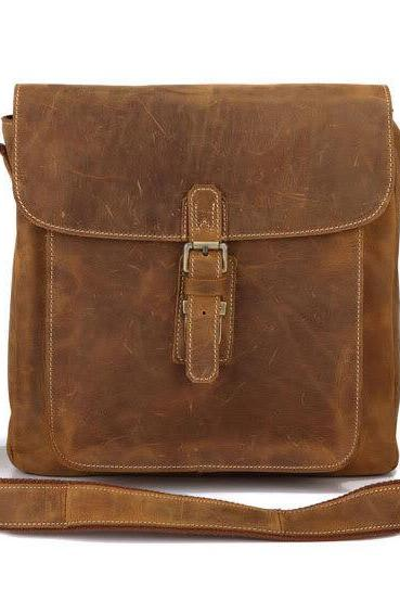 Brown Leather Messenger Bag /Brown Leather Crossbody Bags / Leather iPad's Messenger Bag