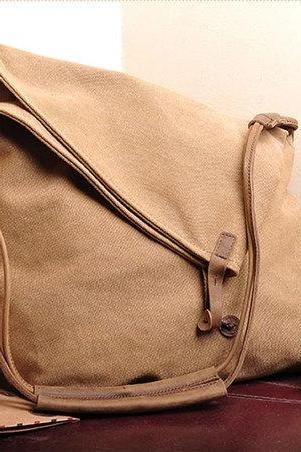 Khaki Canvas Messenger Bag,Canvas Leisure Bags ,Canvas School Bag