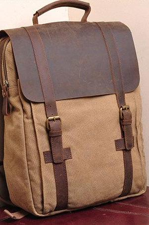 Khaki Canvas Backpack School Canvas Backpacks Student Canvas Backpack 15''macbook pro/air bags Packsacks