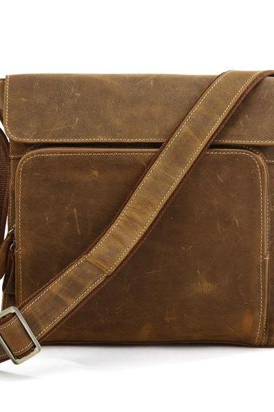 Crazy Horse Leather Bag Men's Brown Messenger Bag Cross Body Bags Shoulder Bag Leather Ipad Bags