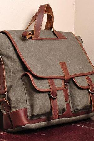 Army Green Canvas messenger bag Canvas messenger bags Leisure Canvas handbags 15''/16'' laptop bags---with strap