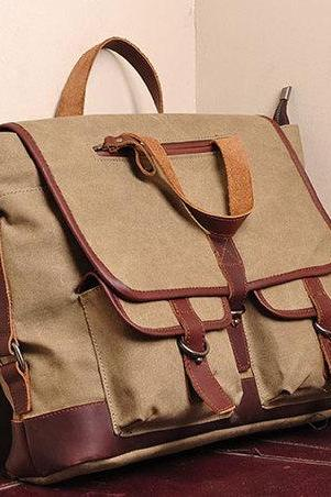 Khaki Canvas messenger bag Canvas messenger bags Leisure Canvas handbags 15''/16'' laptop bags---with strap