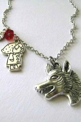 Red riding hood necklace wolf jewelry red flower