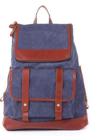 Blue Leather-Canvas Backpacks Canvas Backpacks Student Canvas Backpack Leisure Packsacks
