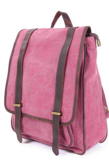 Rose-red Canvas Bag Canvas Backpacks Leisure Leather/Canvas Backpack