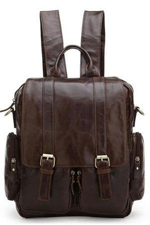 Retro Leather Backpacks Men's Leisure Backpack Leather Messenger Bag Traveling Leather Bags