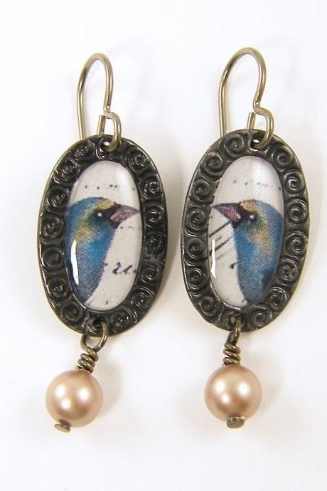 Bird Earrings - Blue Bird Collage Blush Pearl Dangle Earrings