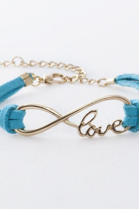 Infinity Love Charm Friendship Bracelet in Blue