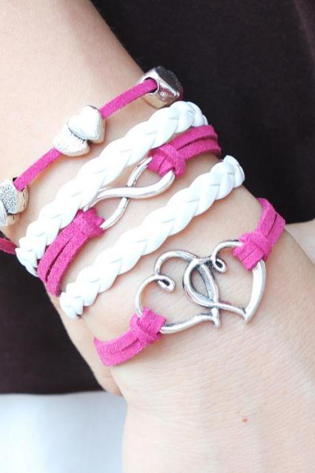 Vintage LOVE heart to heart lucky 8 Infinity bracelet multiple fashionable bright leather rope hand woven Braceletfriendship gift girlfriend gift