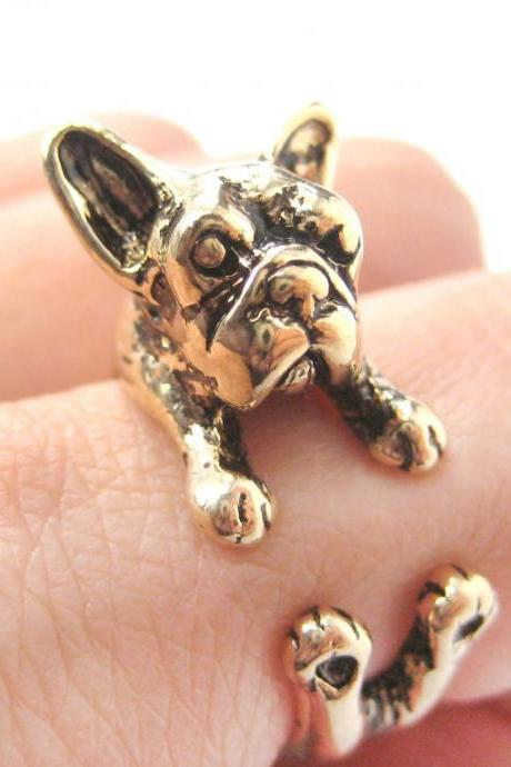 French Bulldog Puppy Animal Wrap Around Ring in Shiny Gold - Sizes 5 to 9 Available