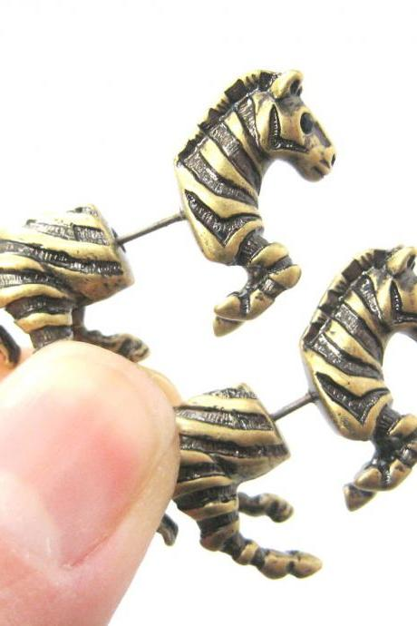 Unique Fake Gauge Zebra Shaped Animal Horse Stud Earrings in Bronze