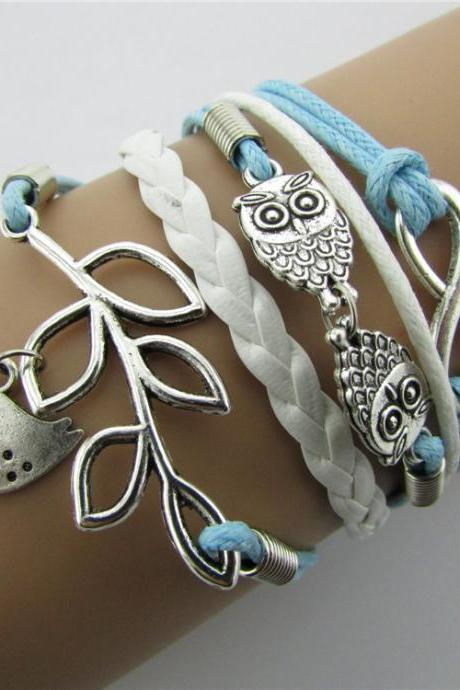 infinity vintage bracelet owl bird bracelet whitr and blue wax cord black Braided Leather Antique Bronze Cute Personalized Jewelry friendship gift
