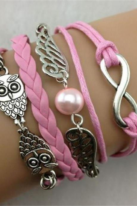 infinity vintage bracelet owl wing bracelet lucky 8 bracelet pink wax cord pink Braided Leather Antique Bronze Cute Personalized Jewelry friendship gift