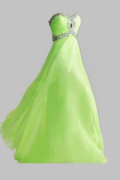 HOT Lime Green Aqua Sweetheart New Hot Chiffon Empire Long Cheap Stock Crystal Sequin Evening Prom Dresses Bridesmaid Gowns Dress