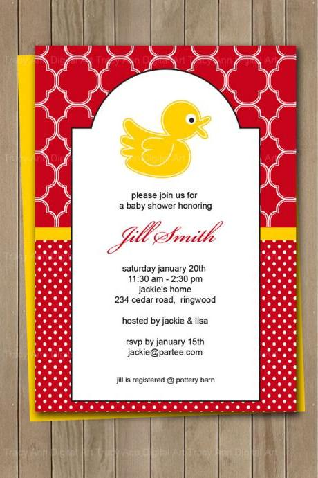 Red and Yellow Duck Printable Baby Shower Birthday Invitation