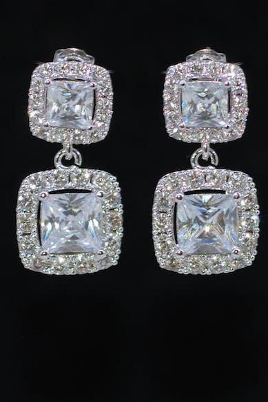 Wedding Earrings, Bridesmaid Earrings, Bridal Jewelry - Cubic Zirconia Square (Princess Cut) Earring with Cubic Zirconia Square (E688)