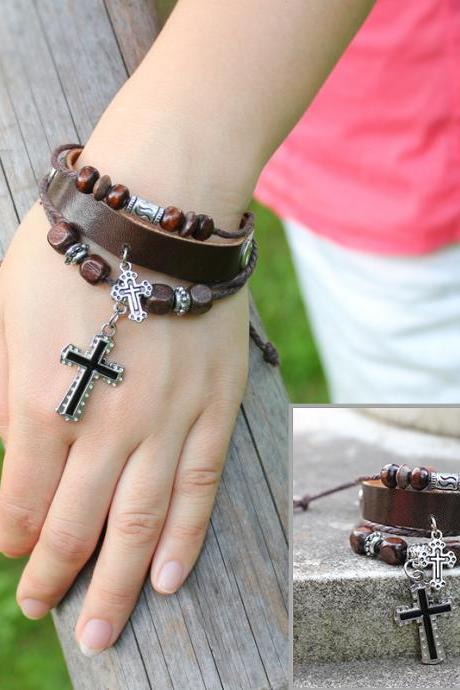 The ancient cross infinitesimal size bracelet leather bracelet brown wax rope leather rope strands of hand rope