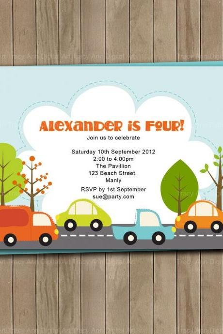 Car Zoom Printable Party Invite