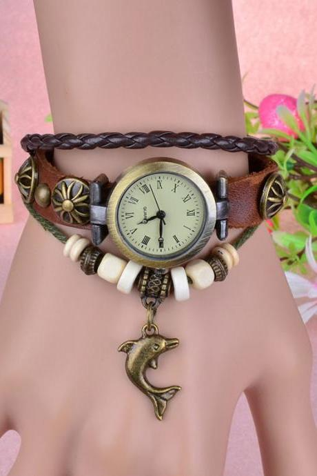 Infinity Leather Watch Bracelet dolphin Fashion Bracelet Quartz Movement Braclet Wrist Watch for Women Men New