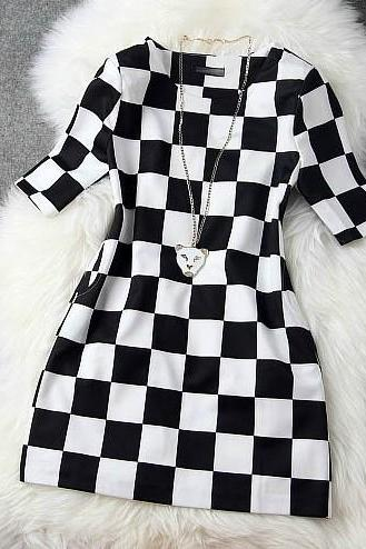 temperament plaid princess dress h442113