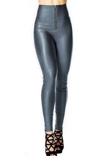 Sexy Womens Plux Size Gym Candy Colour Yogo Sport High Waisted Zip Front Wet Look Shiny Stretch Leggings Pants (kx29)