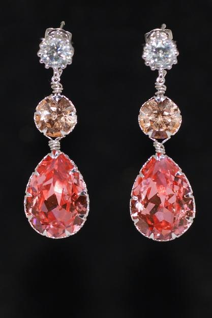 Round Cubic Zirconia Earring with Swarovski Light Peach Round, Rose Peach Teardrop Crystals - Wedding Jewelry, Bridal Earrings (E686)
