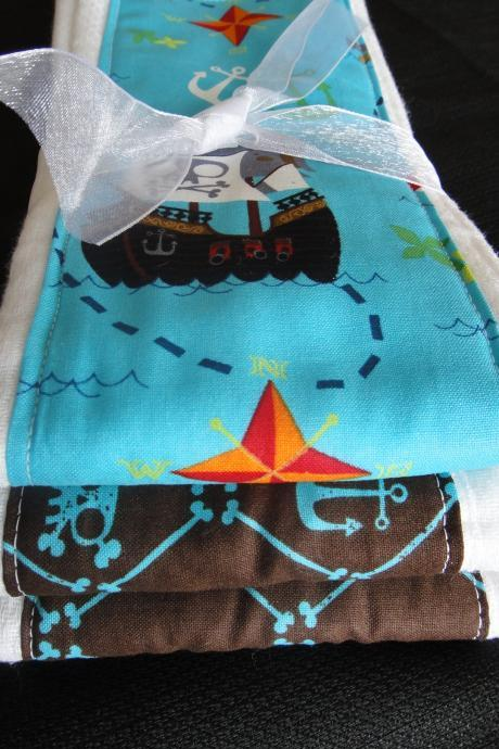 Burp Cloth Set in Boutique Style Pirate Prints