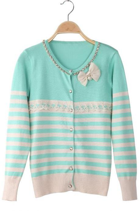 New spring Fall 2014 Vintage Style Mint Cardigan Jacket Embellished Witch Rhinestones