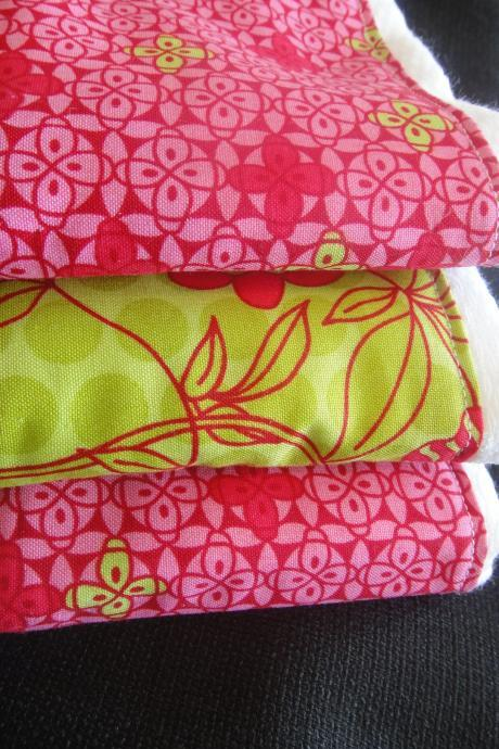 Baby Burp Cloth Set in Boutique Style Pink and Green Prints