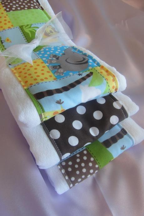 Baby Burp Cloth Set in Jungle and Polka Dot Print