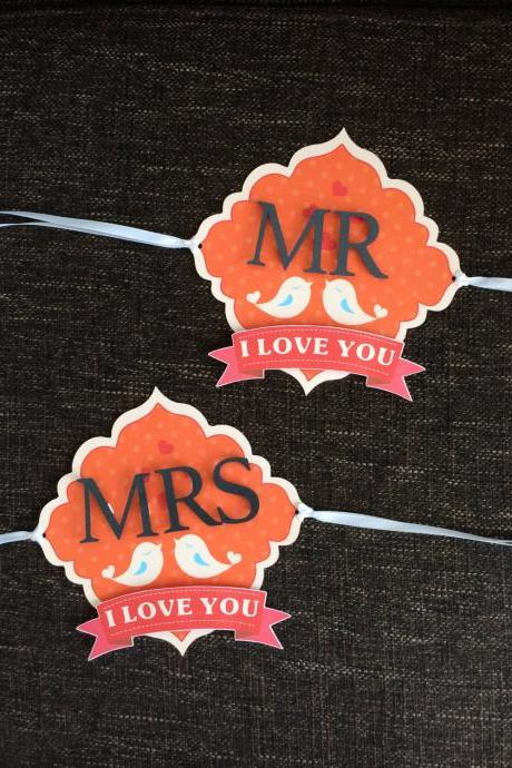 Love Birds Wedding Chair Signs - Customisable!