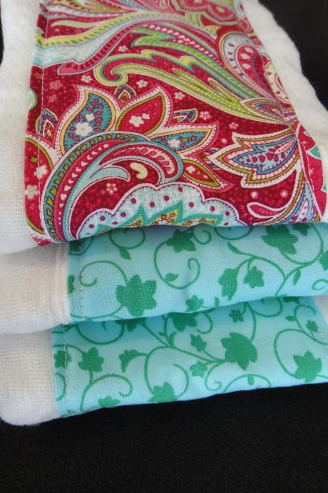 Baby Burp Cloth Set in Boutique Style Pink and Green Paisley
