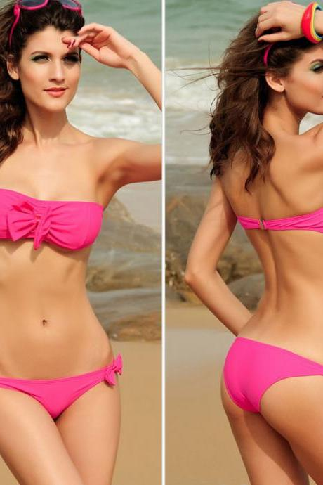 Sexy Bow Strapless Rose Bikinis & Swimsuit