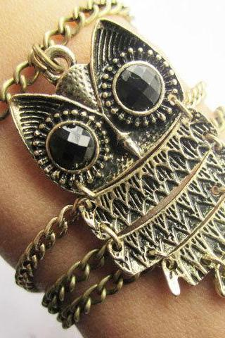 antique brass owl bracelet chain infinity bracelet