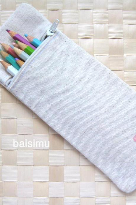 Long canvas pencil case - handprinted with happiness in red