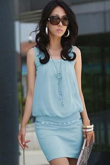 Classic Sleeveless Round Collar Pink Above Knee Dress - Light Blue