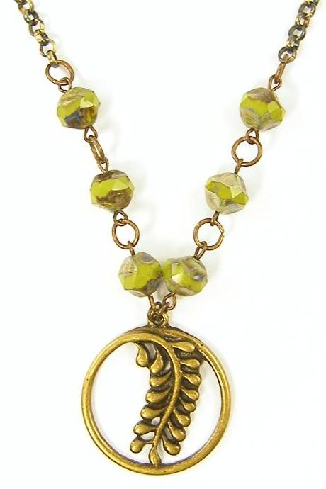 Fern Necklace - Green Plant Nature Jewelry