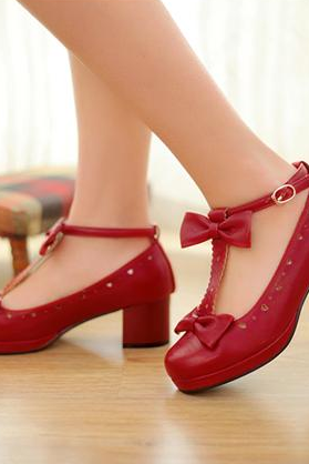 Round Toe Leather T-Strap Low Chunky Heel Pumps with Tiny Heart Cutouts and Ribbons
