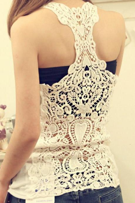070519 FASHION BACK OPENWORK CROCHET COTTON CAMISOLE