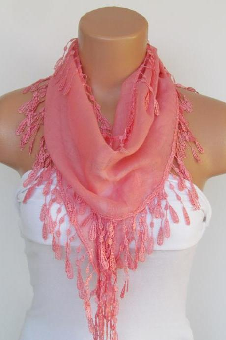 Salmon Scarf With Fringe-Cotton Scarf-Headband-Necklace- Infinity Scarf- Spring Accessory-Long Scarf