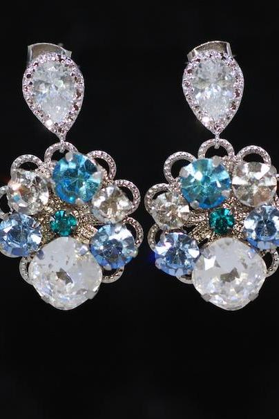 Wedding Earrings, Bridesmaid Earrings, Bridal Jewelry - Vintage Earring with Swarovski Blue Crystals (E680)