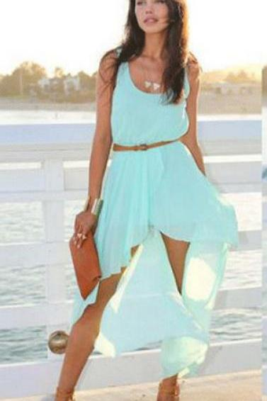 Sleeveless Asymmetrical Chiffon Dress