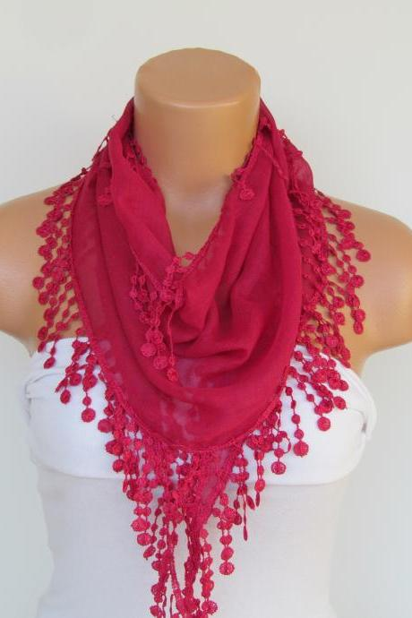 Fuchsia Scarf With Fringe-Cotton Scarf-Headband-Necklace- Infinity Scarf- Spring Accessory-Long Scarf