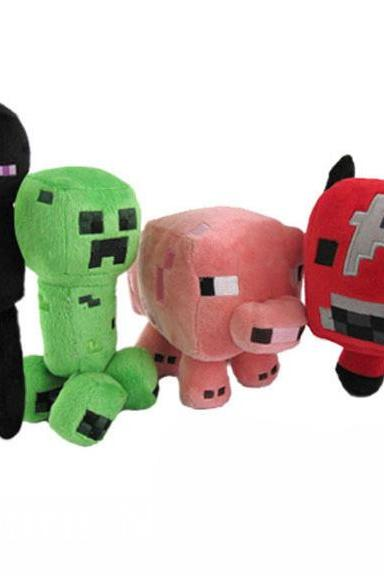 Retail Minecraft JJ Enderman cow pink pig Cute plush toy stuffed doll 13-21cm